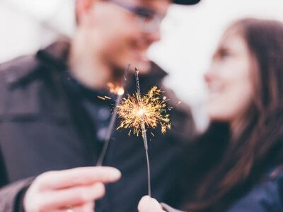 Couple with small firework