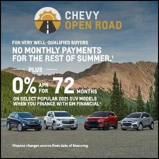 0% APR FOR 72 MONTHS ON SELECT 2021 CHEVY SUV MODELS