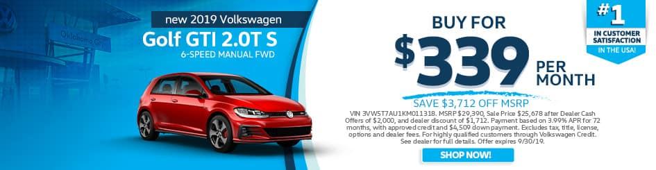 2019 Volkswagen Golf GTI 2.0T S 6-Speed Manual FWD