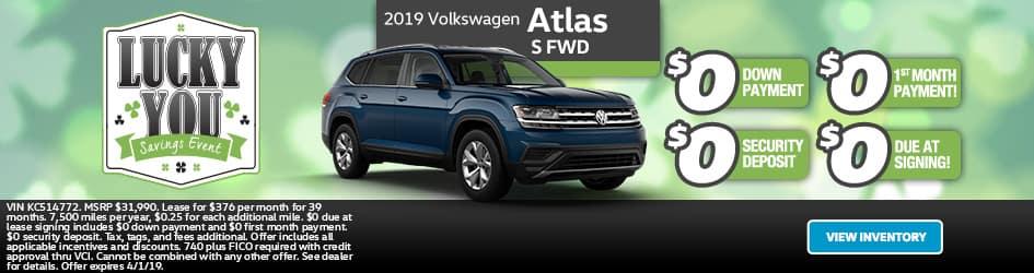 New 2019 Volkswagen Atlas S FWD