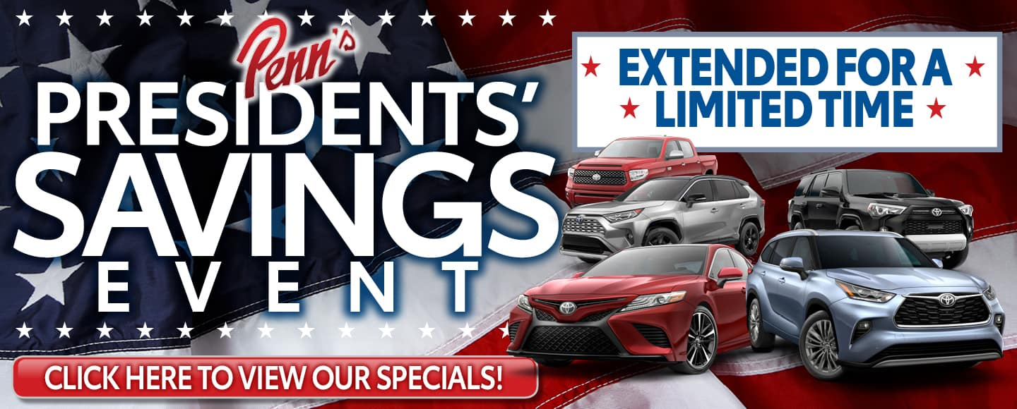 President's Day sale Extended at Penn Toyota