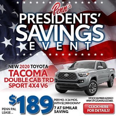 NEW 2020 TOYOTA TACOMA DOUBLE CAB TRD SPORT 4X4 V6