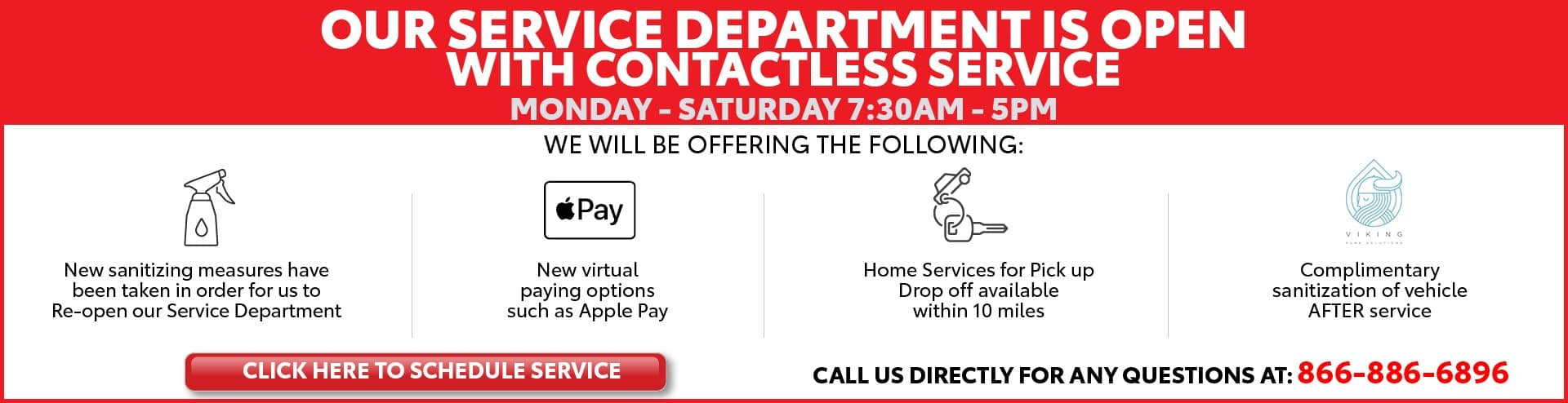 Service Department is Open - resize for Service Center page