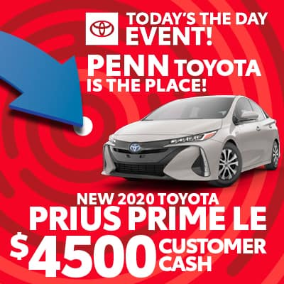 $4,500 CUSTOMER CASH ON NEW 2020 PRIUS PRIME