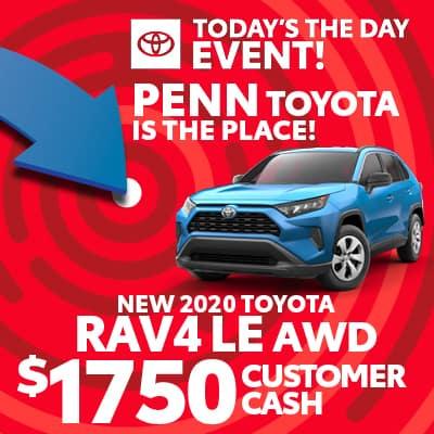 $1,750 CUSTOMER CASH ON NEW 2020 RAV4