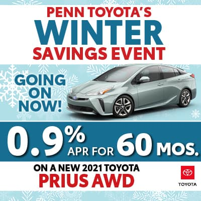 0.9% APR for 60 months on a New 2021Toyota Prius AWD