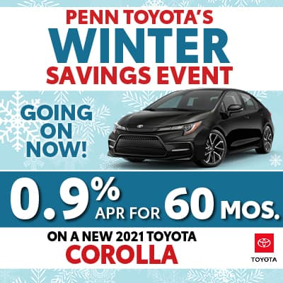 0.9% APR for 60 months on a New 2021 Toyota Corolla