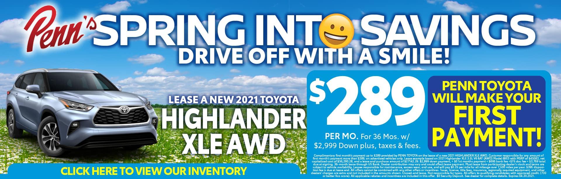 Highlander lease offer