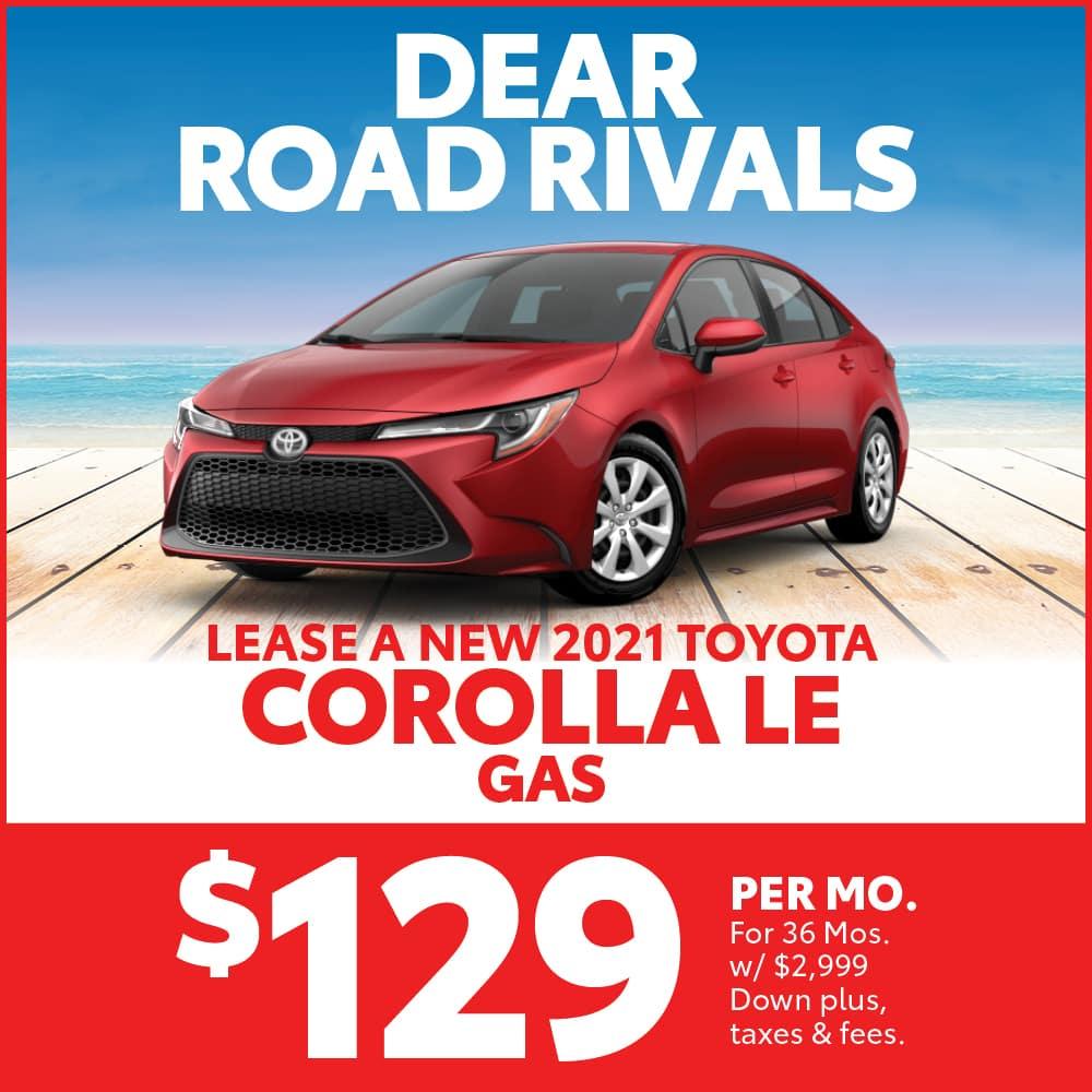 Lease a 2021 Toyota Corolla LE Gas or Hybrid
