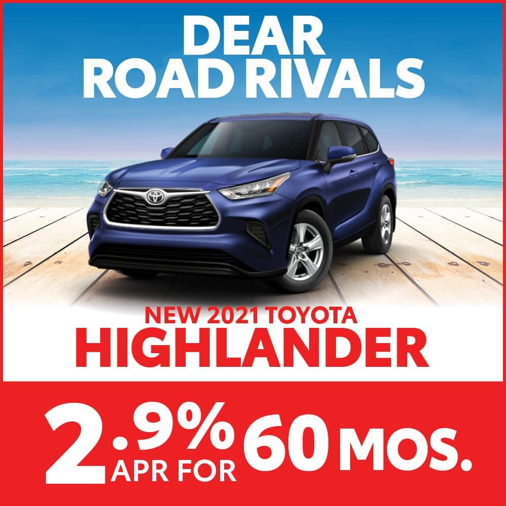Get 2.9% APR for 60 months on a 2021 Toyota Highlander