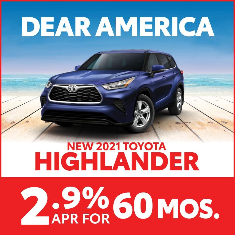 New 2021 Toyota Highlander 2.9% APR for 60 months