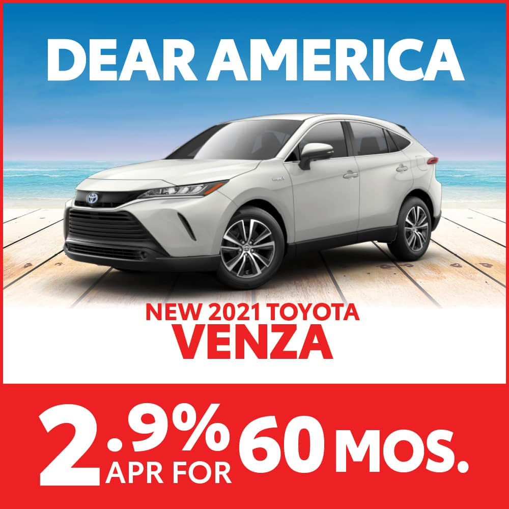 New 2021 Toyota Venza 2.9% APR for 60 months