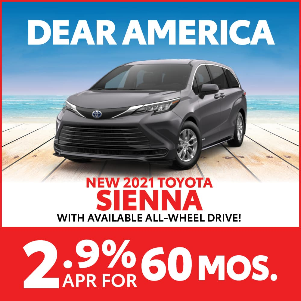 New 2021 Toyota Sienna 2.9% APR for 60 months