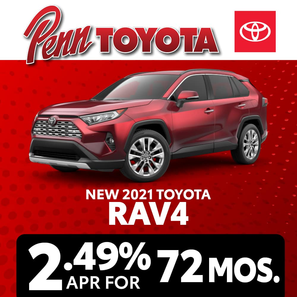 Get 2.49% APR for 72 months on a 2021 Toyota RAV4