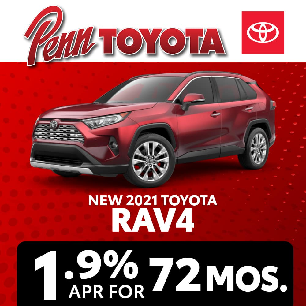Get 1.9% APR for 72 months on a 2021 Toyota RAV4