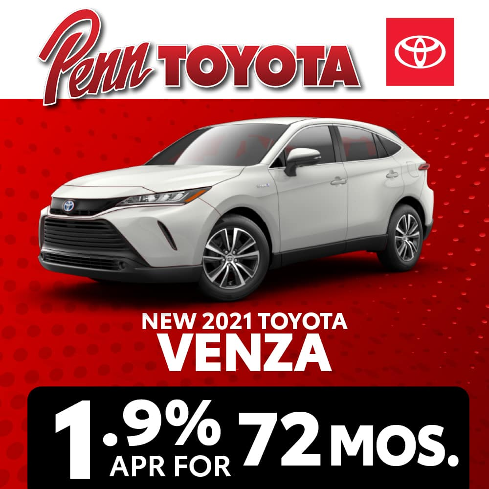Get 1.9% APR for 72 months on a 2021 Toyota Venza
