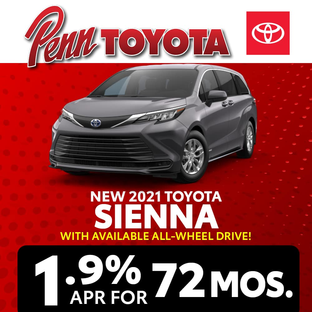 Get 1.9% APR for 72 months on a 2021 Sienna