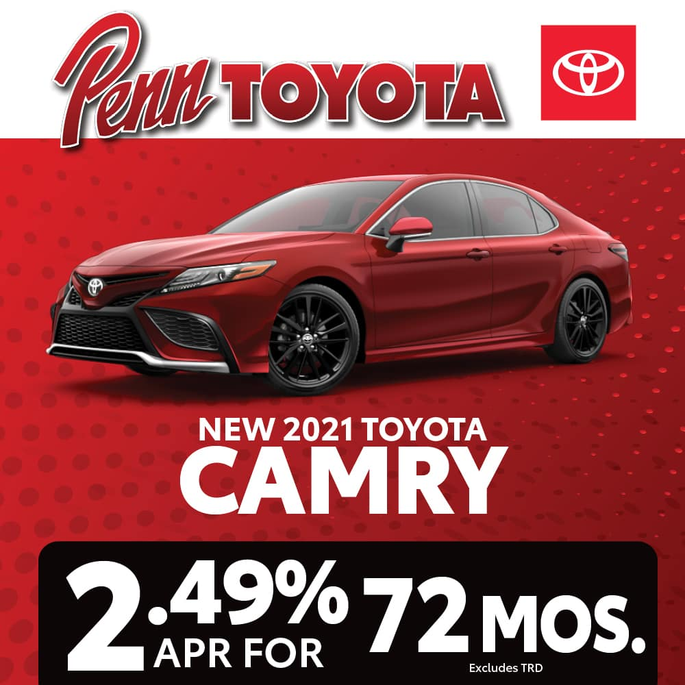 Get 2.49% APR for 72 months on a 2021 Camry