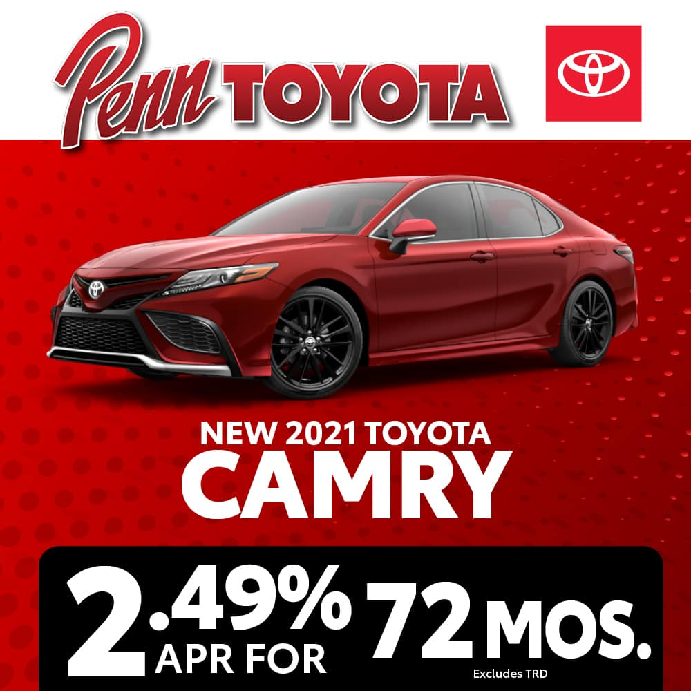 Get 2.49% APR for 72 months on a 2021 Toyota Camry