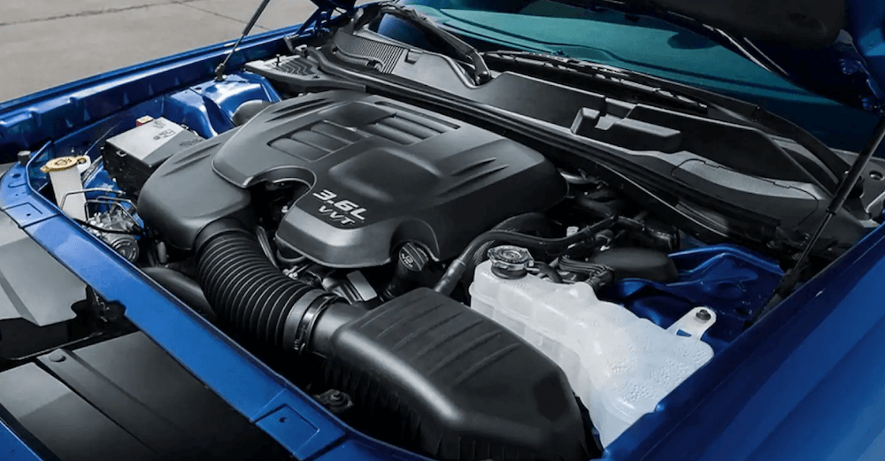 dodge challenger engine under hood