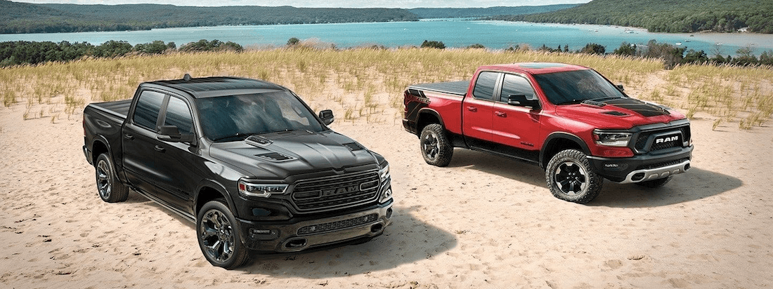 2020 RAM 1500 configurations Big Horn and Laramie trim levels on beach
