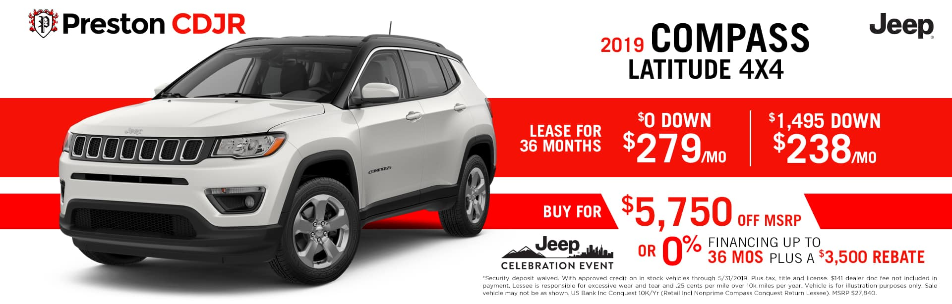 May special for the 2019 Jeep Compass