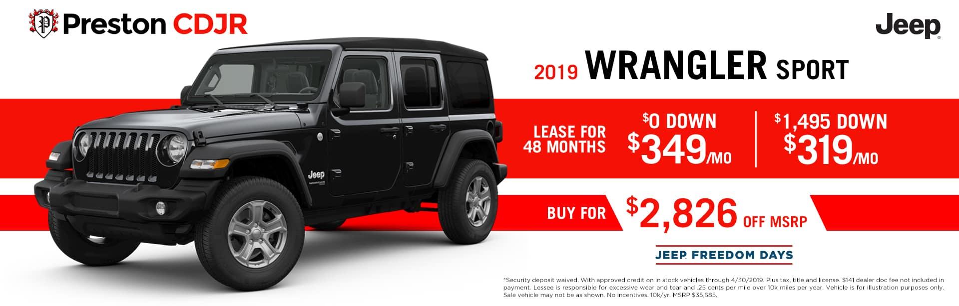 deal jeep wrangler sport