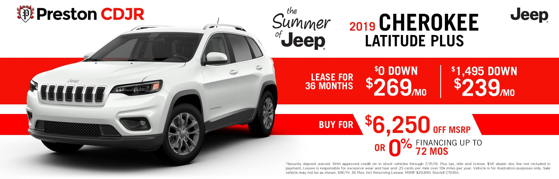 July special on the 2019 Jeep Cherokee
