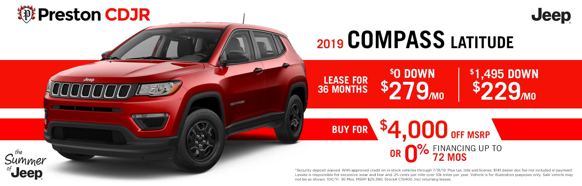 July special on the 2019 Jeep Compass