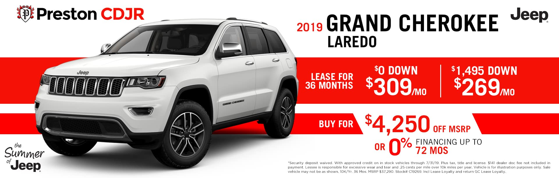 July special on 2019 Jeep Grand Cherokee