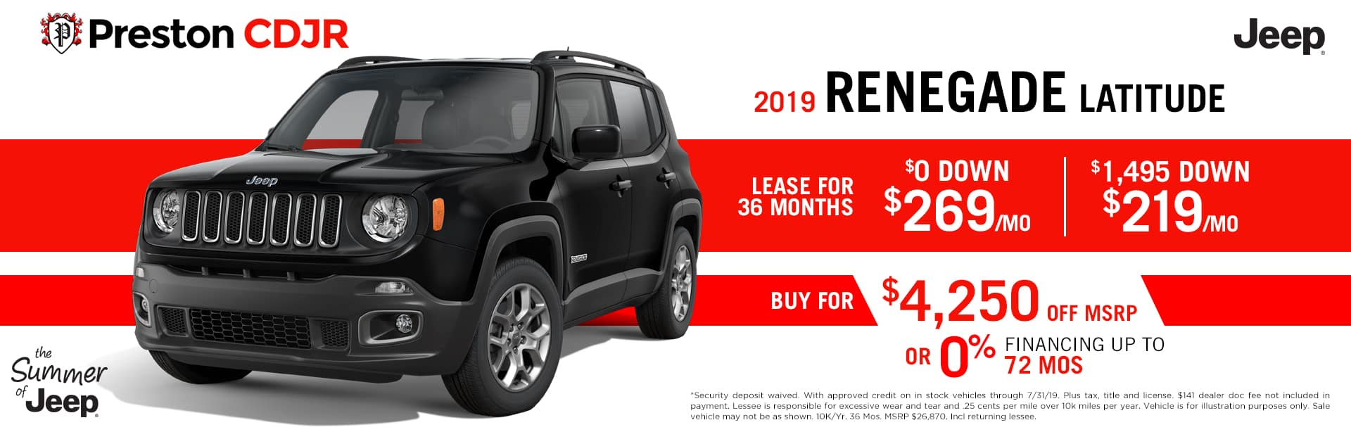 July special on the 2019 Jeep Renegade