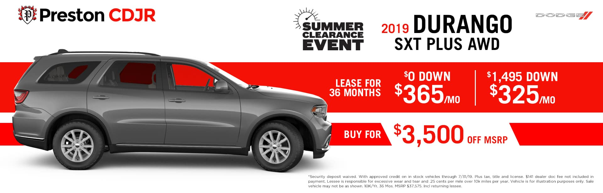 July special on the 2019 Dodge Durango