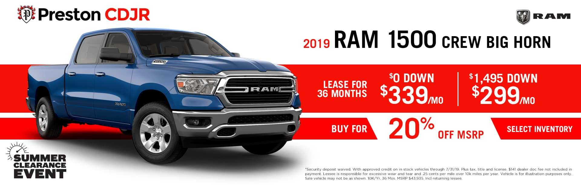 July special on the 2019 RAM 1500