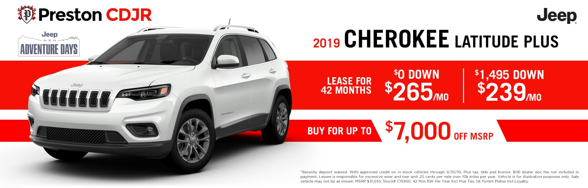 September special on the 2019 Jeep Cherokee