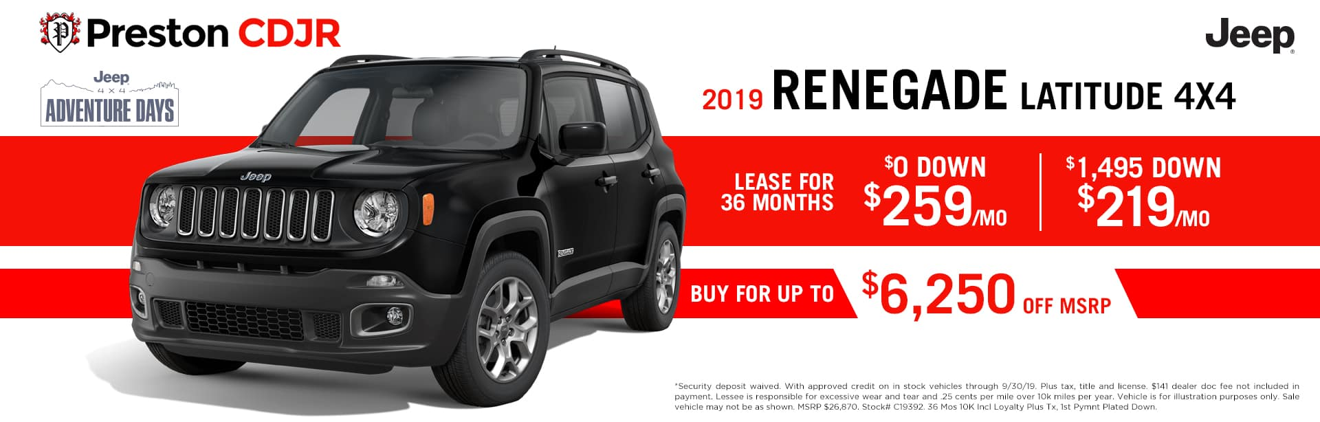 September special on the 2019 Jeep Renegade