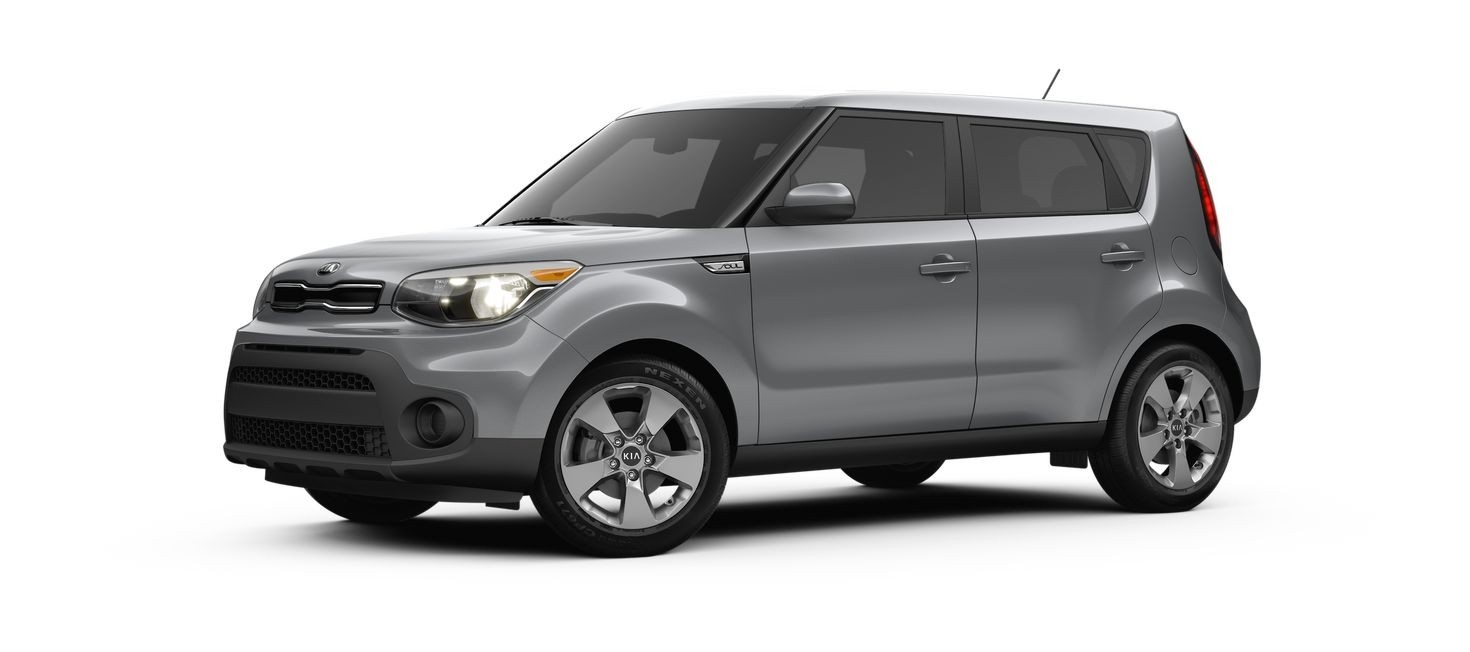 A silver 2017 Kia Soul on white