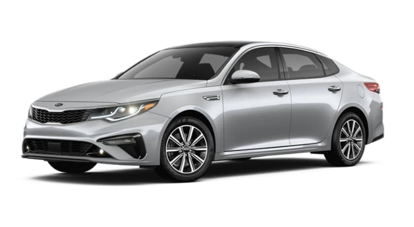A silver 2019 Kia Optima facing left