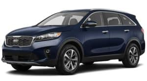 A blue 2019 Kia Sorento is facing left.