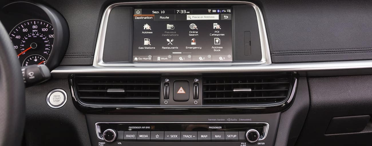 A look at the high tech dashboard in a 2019 Kia Optima SX