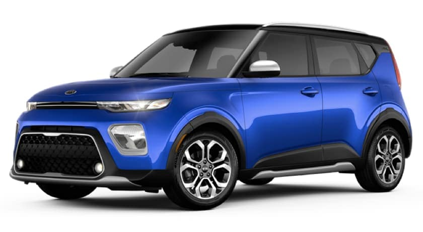 A blue and black 2020 Kia Soul is facing left.