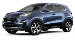 A blue 2020 Kia Sportage is facing left.