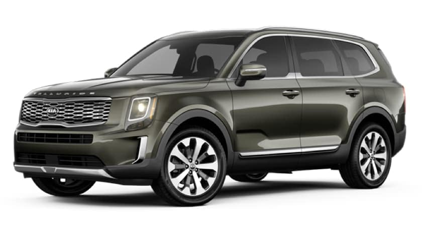 A green 2020 Kia Telluride is facing left.