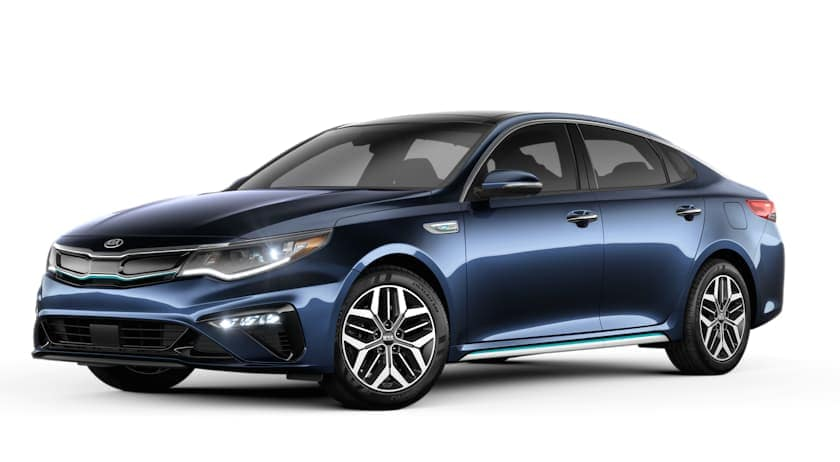 A blue 2020 Kia Optima Hybrid is facing left.