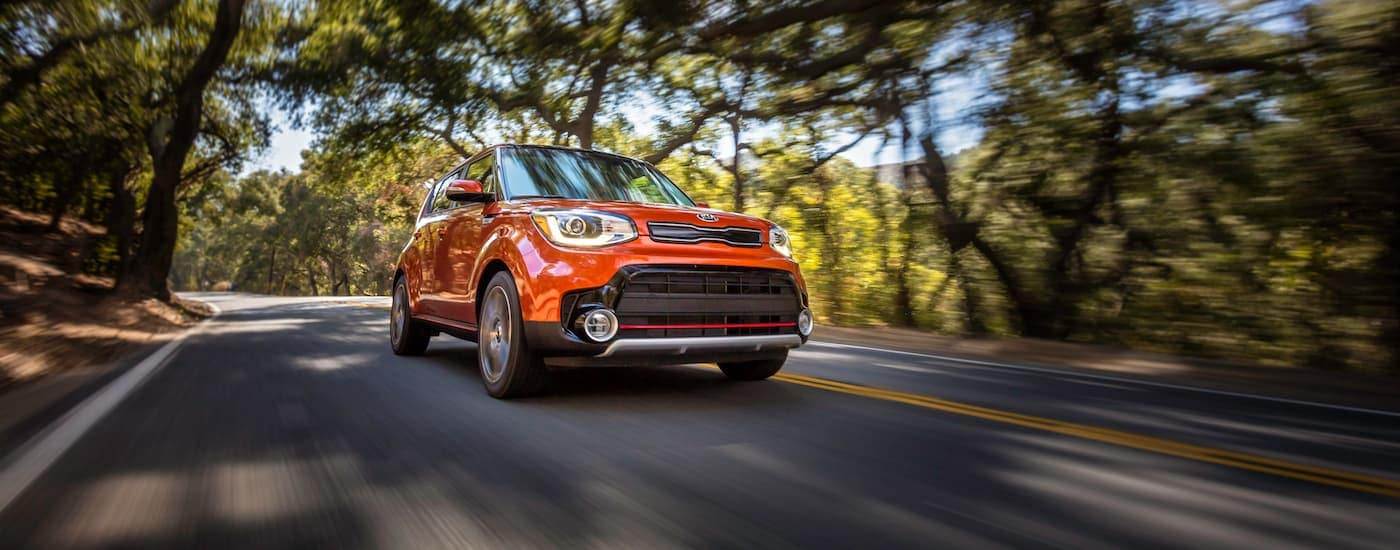 An orange 2019 Kia Soul is driving on a tree-lined street outside Freehold, NJ.