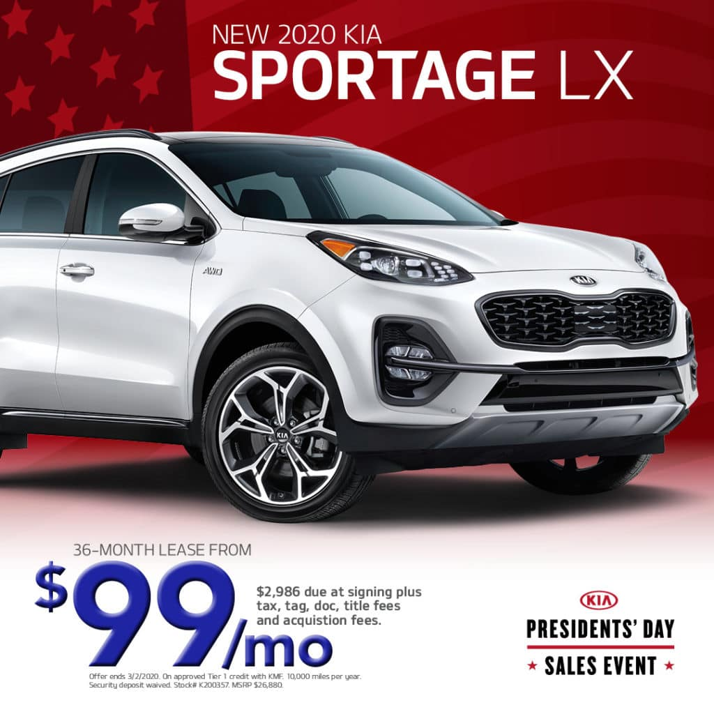 Lease a New 2020 Kia Sportage LX for only $99 a month!