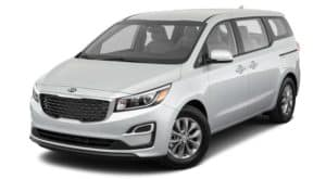 A white 2020 Kia Sedona is angled left on a white background.