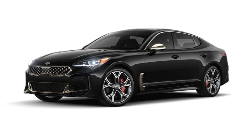 A black 2020 Kia Stinger is facing left.
