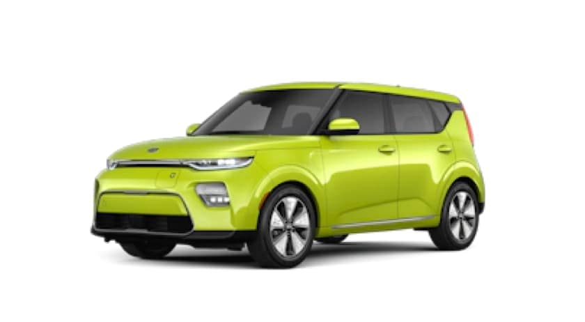 A bright green 2021 Kia Soul EV is facing left.