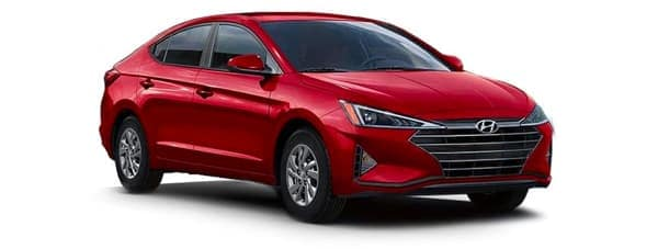 A red 2020 Hyundai Elantra is angled right.