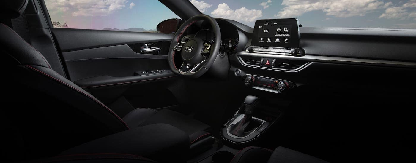 The interior of a 2020 Kia Forte is shown.